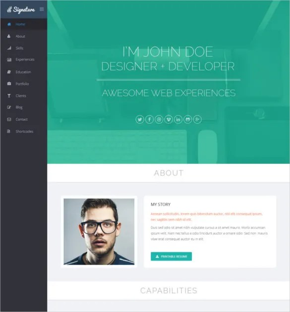 41 HTML5 Resume Templates – Free Samples Examples Format