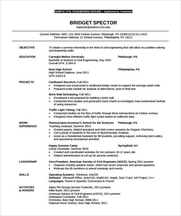 civil engineering resume templates word