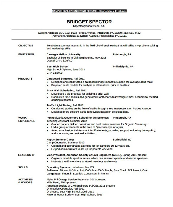 16 civil engineer resume templates free samples psd example - Civil Engineer Resume Example
