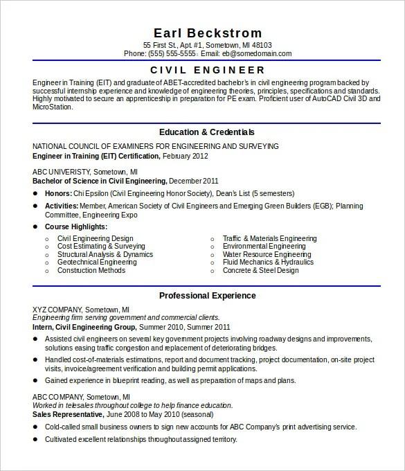 16 civil engineer resume templates free samples psd example - Example Engineer Resume