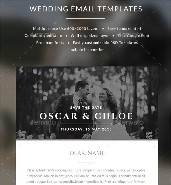 Email Wedding Invitation Templates Oscar Psd Format