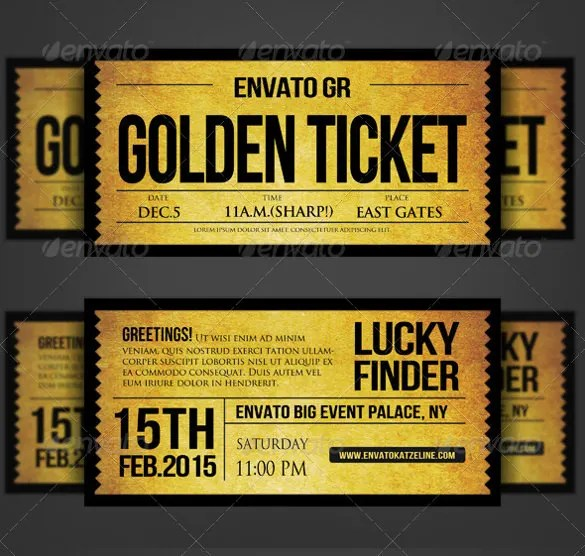 Golden Ticket Wedding Invitation – Ticket Invitation Template
