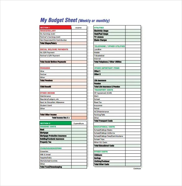 18 Budget Sheet Templates Word PDF Excel Free Premium Templates