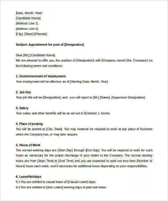 30 Appointment Letter Templates PDF Google DOC Apple
