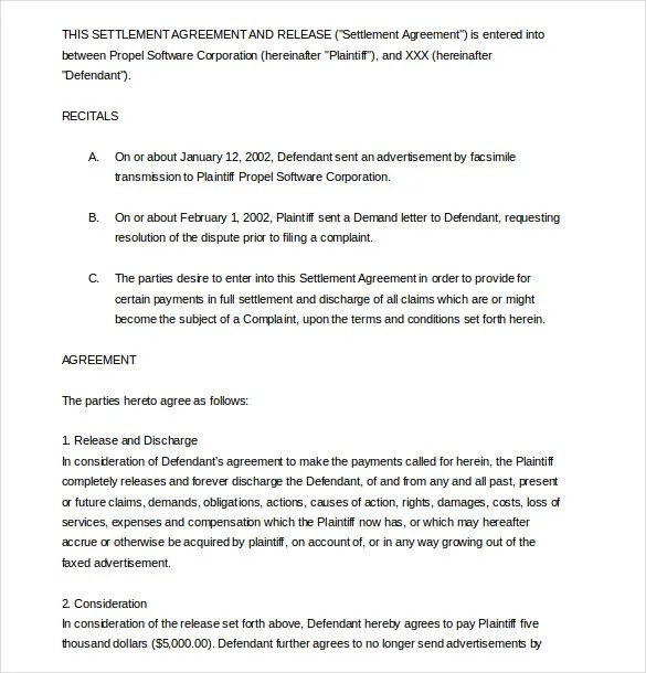 20 Settlement Agreement Templates  Word PDF Pages