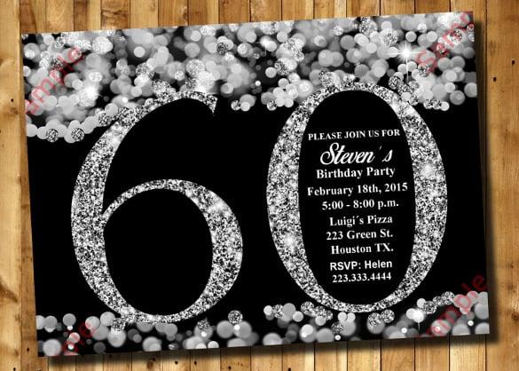 60th Birthday Invitation Silver Glitter Template