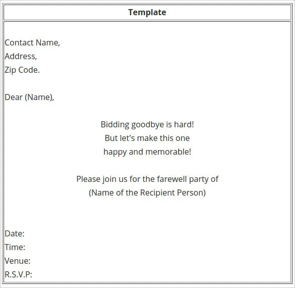 Farewell Party Invitation Template Free Printable