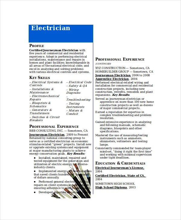 Resume Template For Electrician Resume Sample