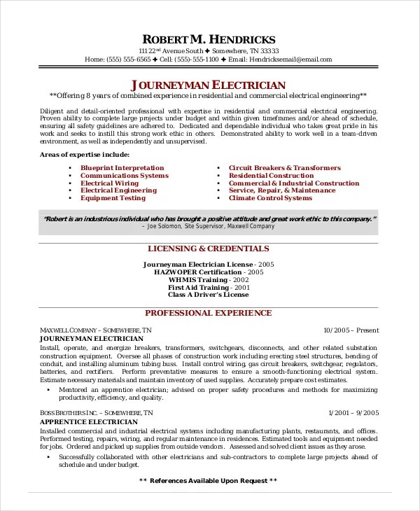 Free Sample Resumes For Electricians