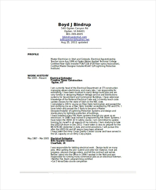 electrician resume format download