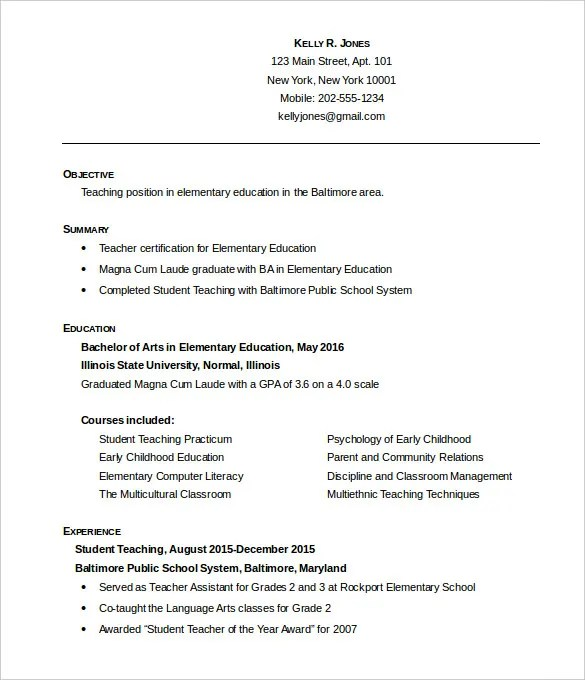 51 teacher resume templates free sample example format - Resume Samples For Teaching Positions
