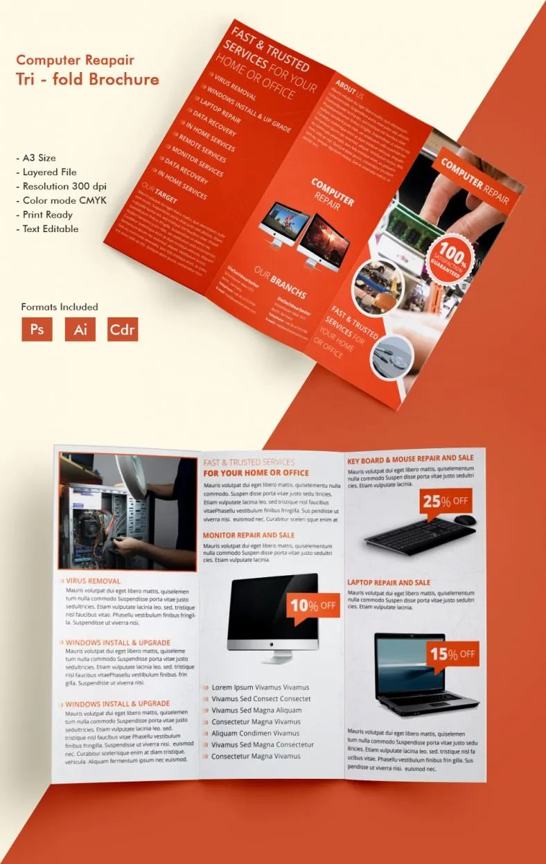 Beautiful Computer Repair A3 Tri Fold Brochure Template Free