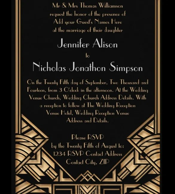 Geometric Art Deco Gatsby Style Wedding Invitation