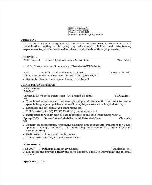 sample resume for pathologist