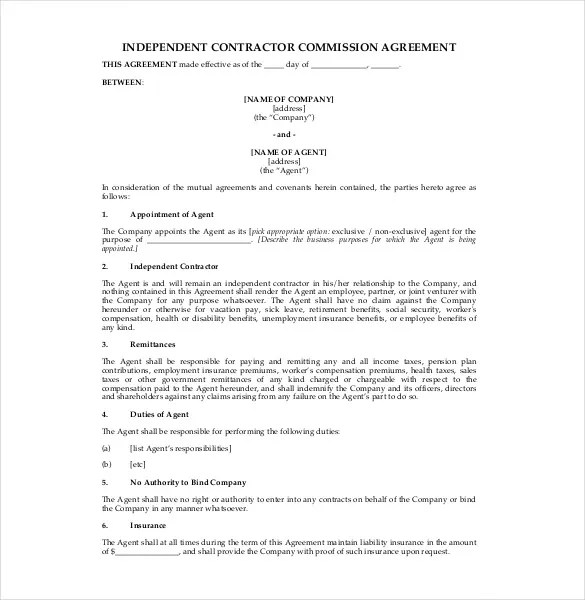 23 Commission Agreement Templates Word PDF Pages