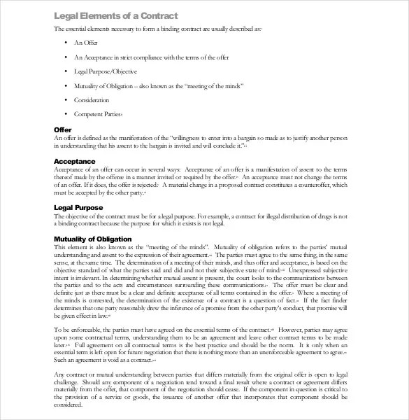 Legal Agreement Template  10 Free Word PDF Documents