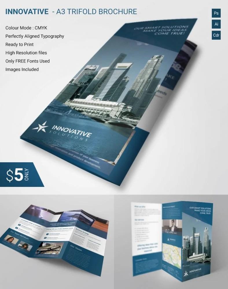 Lavish Innovative A3 Tri Fold Brochure Template Free & Premium