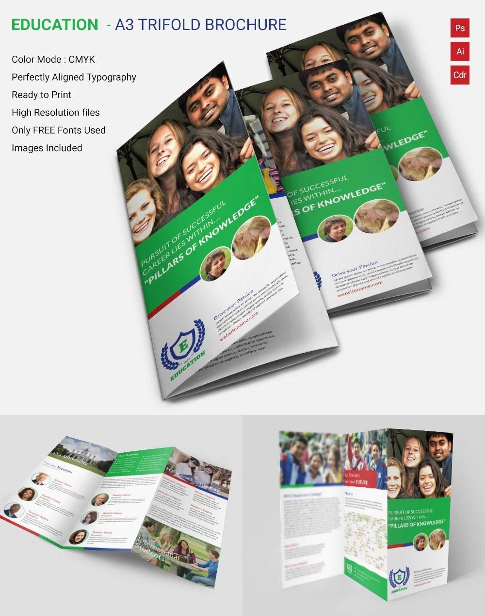 Attractive Education A3 Tri Fold Brochure Template Free & Premium