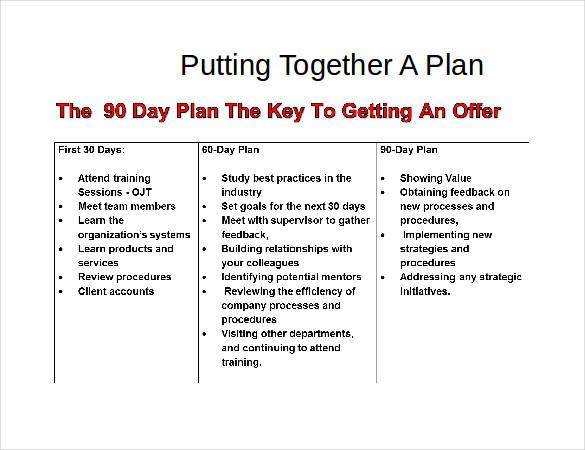 31 30 60 90 Day Plan Templates  PDF DOC  Free  Premium Templates