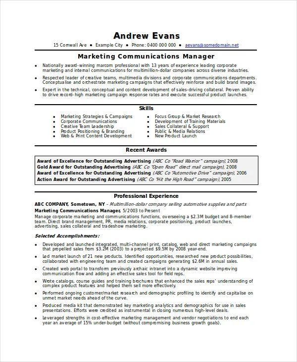 resume template for marketing coordinator