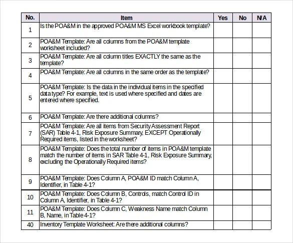 example of checklist form