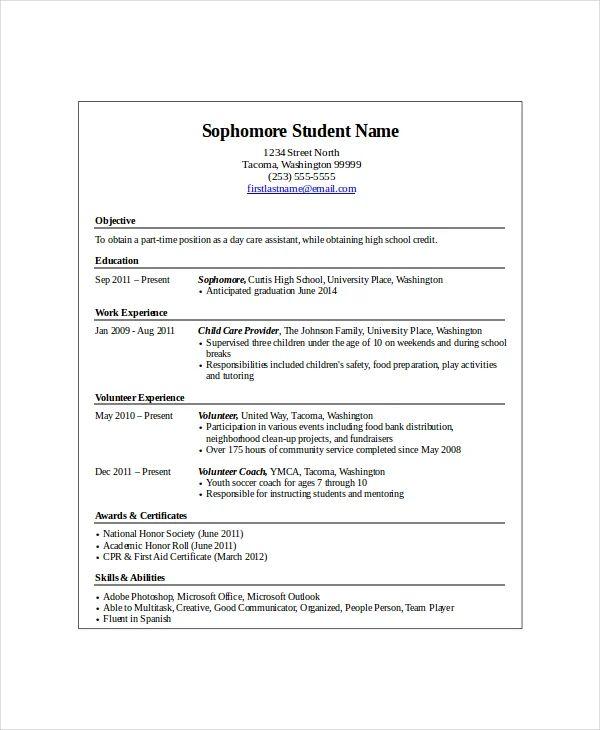 first job high school resume template