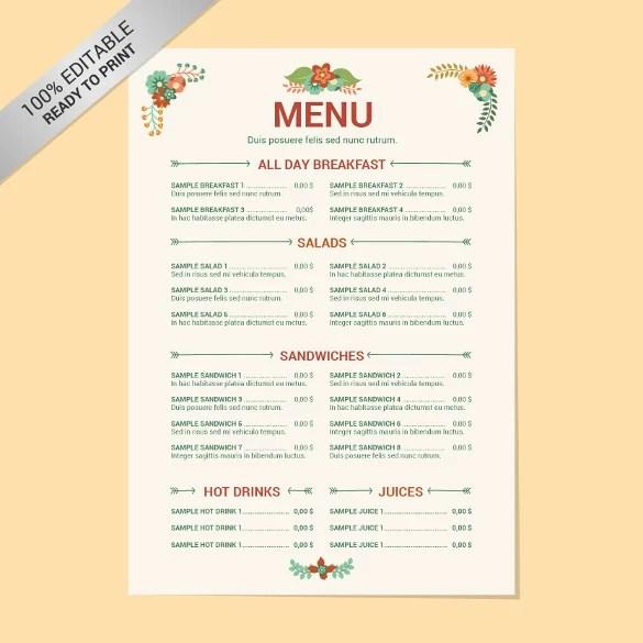 drink menu template word