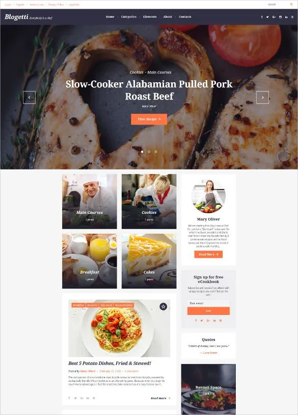 recipe layout template