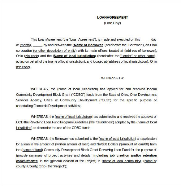 19 Loan Agreement Templates  Free Word PDF Format Download  Free  Premium Templates