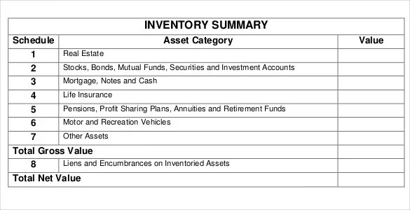 14 Estate Inventory Templates – Free Sample Example