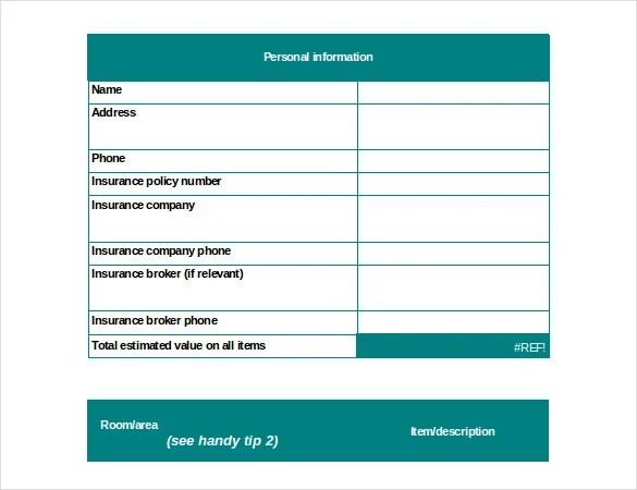 Estate Inventory List Template