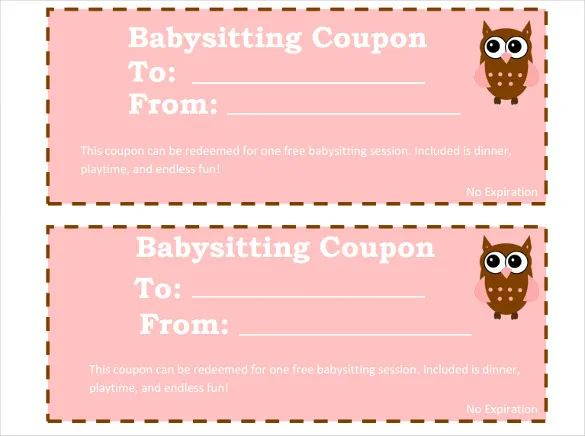 coupon for babysitting