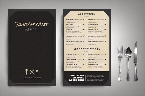 a blank restaurants menus designs