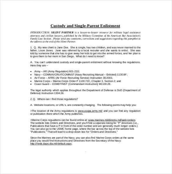 Parental Custody Agreement