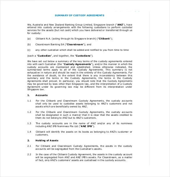 11 Custody Agreement Templates  Free Sample Example
