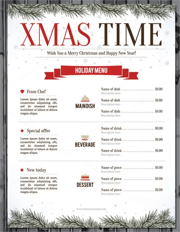 Christmas Menu Template 30 Free PSD EPS AI Illustrator Word Format Download Free