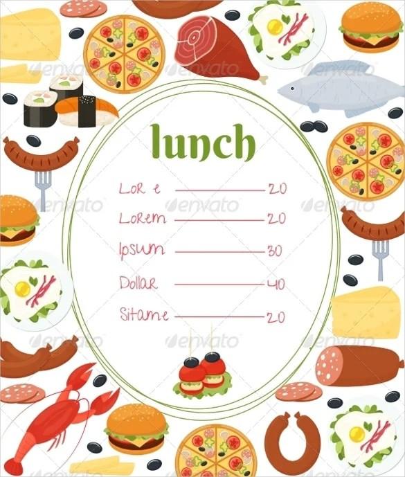 Lunch Menu Template Word