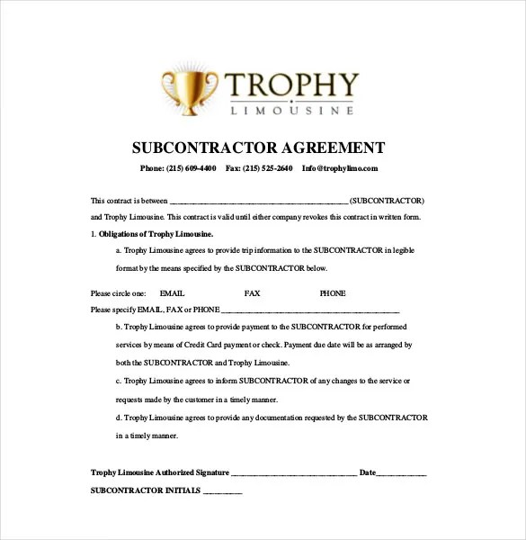 Sample subcontractor agreement for Subcontractors contract template