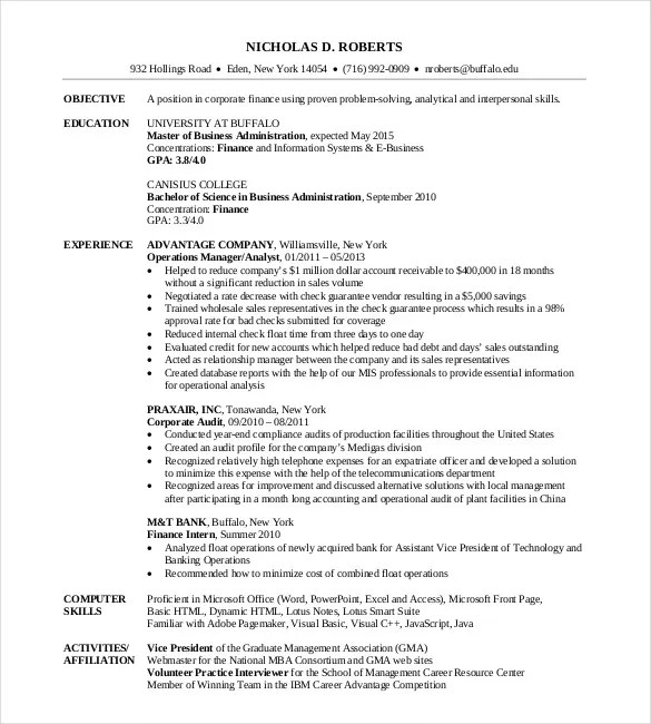 Business School Resume Examples