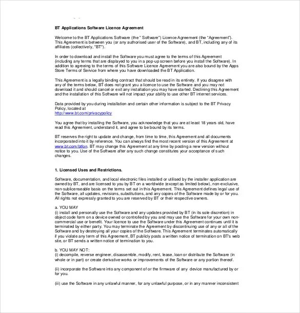 A software license agreement template will help you create a license agreement to protect your software. 35 License Agreement Templates Free Word Pdf Format Download Free Premium Templates