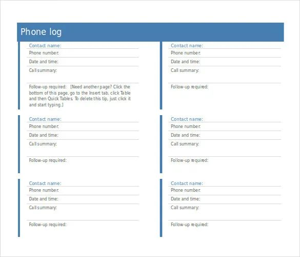 phone call log template excel