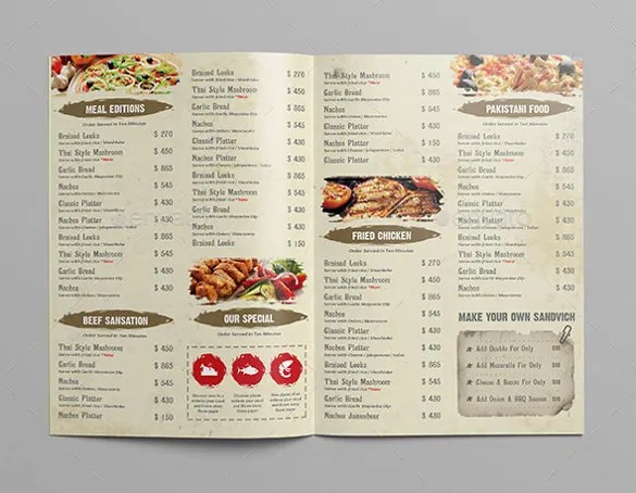 Example Of Restaurant Menu Ideal Vistalist Co