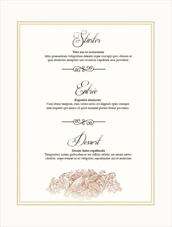 36 Wedding Menu Templates  AI PSD Google docs Apple pages  Free  Premium Templates