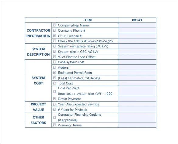 free bid sheet template