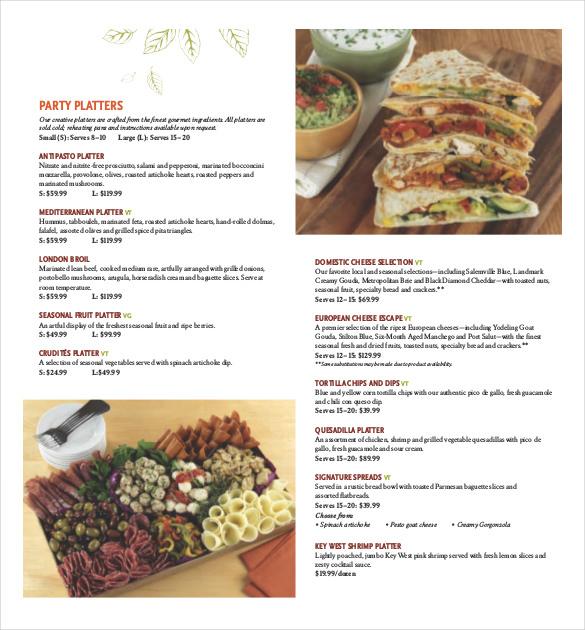 catering menu templates free download