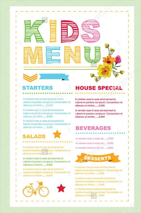 breakfast menu format