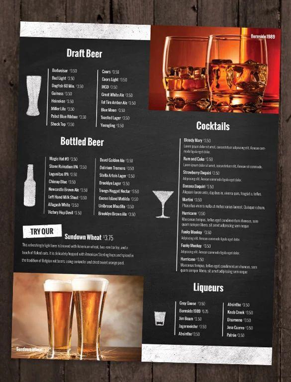 bar drinks menu template