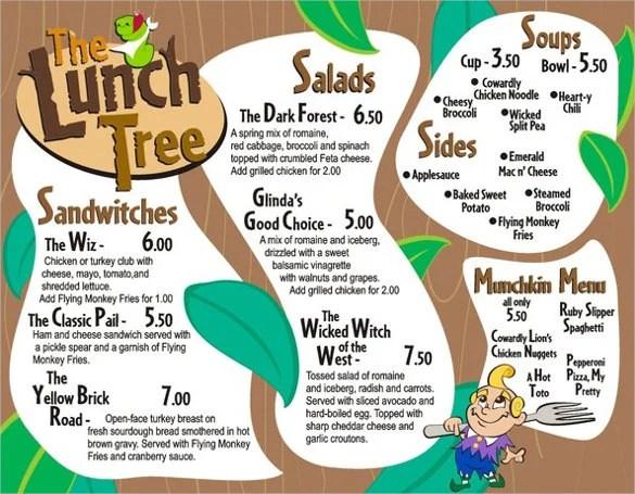 Lunch Menu Template Free
