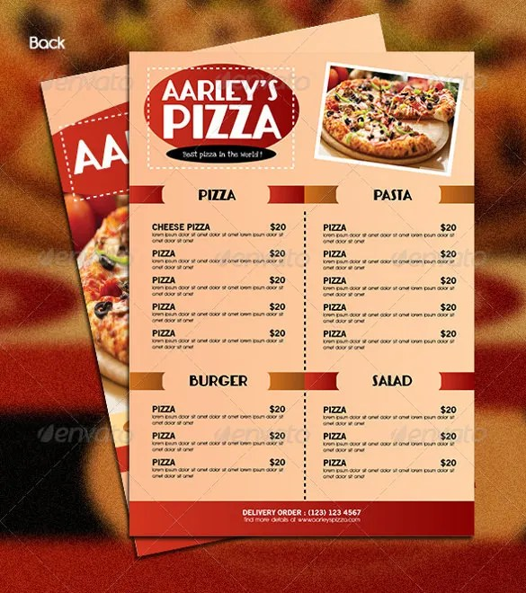 29 Pizza Menu Templates – Free Sample Example Format