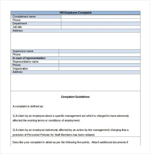Sample Employee Complaint Form   mwb-online co